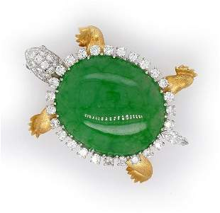 Wedderien Natural Jade Diamond Turtle Pin