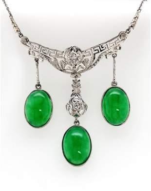 Jade Diamond Drop Necklace