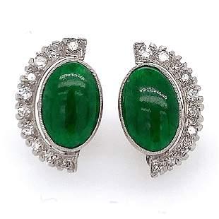 Platinum Jade Diamond Earrings
