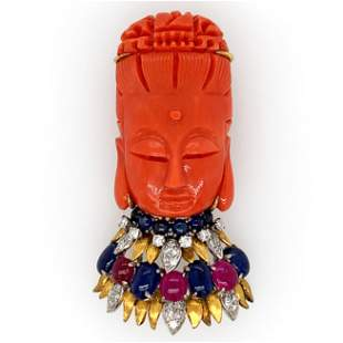 Carved Coral Guanyin Diamond Color Stone Pin/pendant