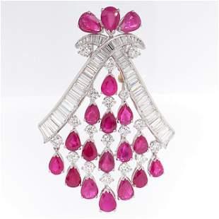 Platinum Diamond Ruby Drop Pin