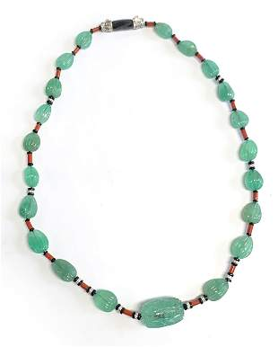 Emerald Bead Multi-gemstone Diamond Necklace