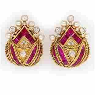 Diamond Ruby Pearl Earclips