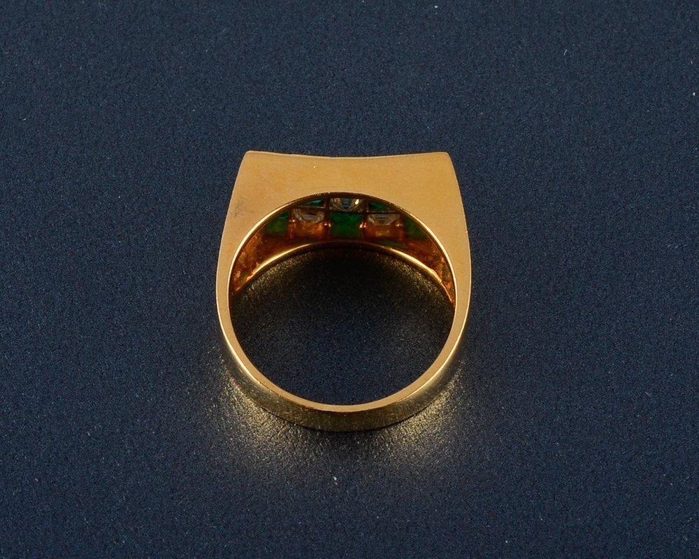 14: Oscar Heyman diamond and emerald ring - 3