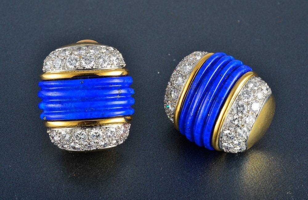 20: 18K yg platinum diamond lapis earrings