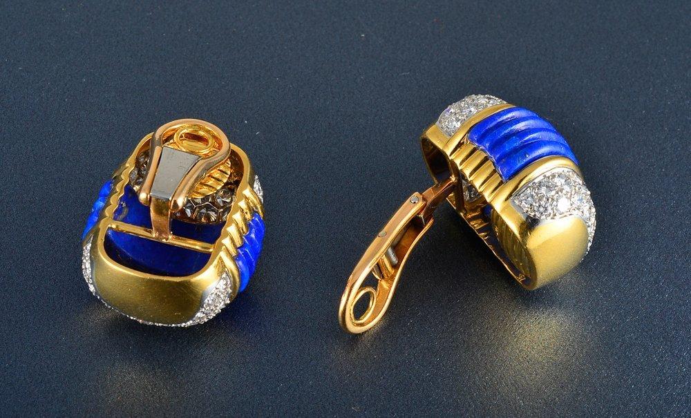 20: 18K yg platinum diamond lapis earrings - 2
