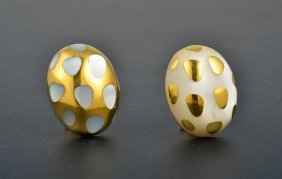 Tiffany & Co Gold And Mother Of Pearl Ear Clips