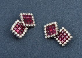 Platinum Diamond And Ruby Cuff-links