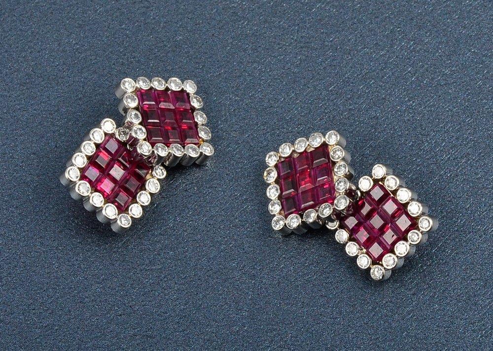 26: Platinum diamond and ruby cuff-links