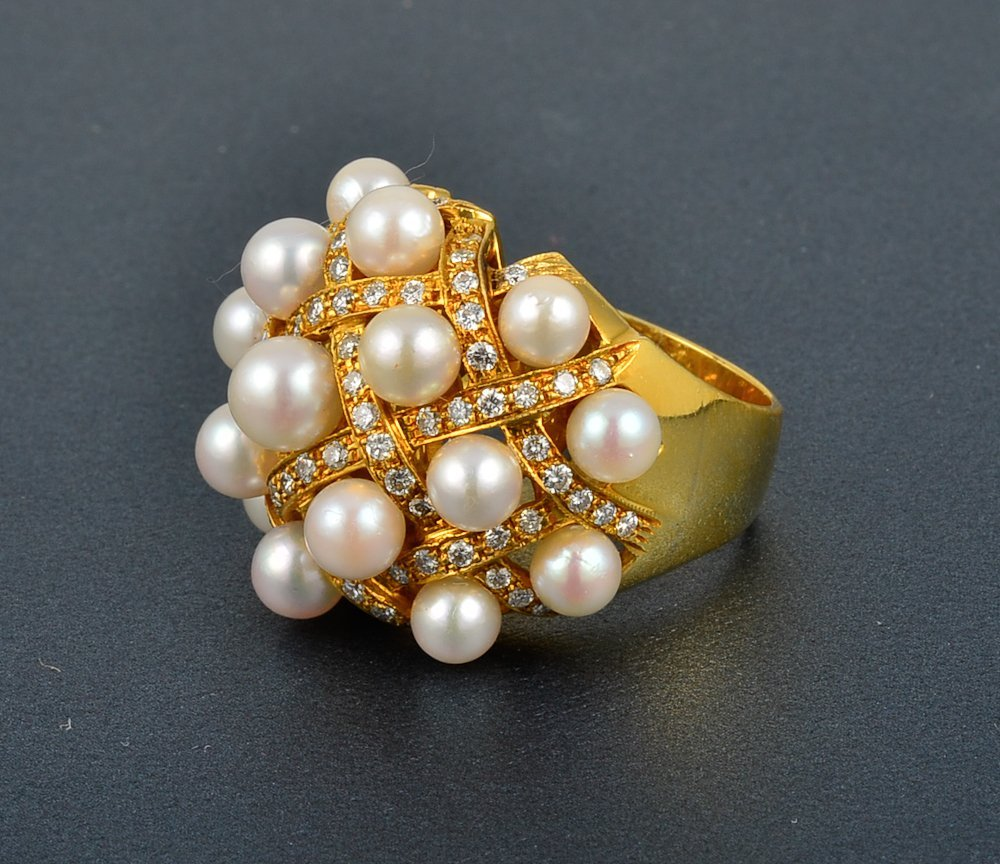 27: Chanel-like Diamond and Pearl Dome Ring