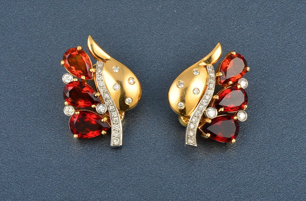 28: Platinum and 18K Gold Diamond and Citrine Ear Clips