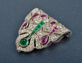 An Art Deco Diamond Emerald & Ruby Platinum Clip