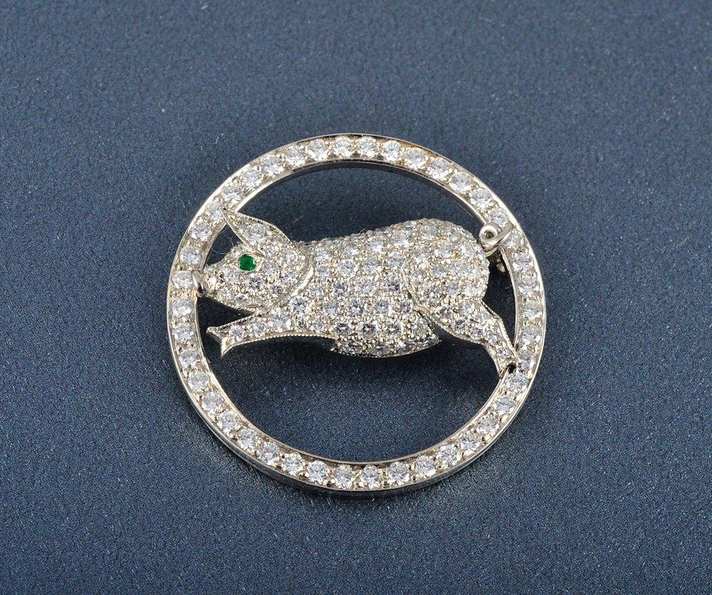 30: Cartier London diamond & platinum pig brooch