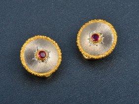 A Pair Of Buccellati 18K Ruby Clip Back Earrings