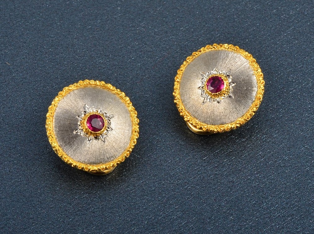 32: A Pair of Buccellati 18K Ruby Clip Back Earrings