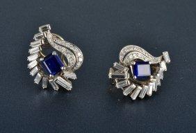 Oscar Heyman Plat. Diamond & Sapphire Earring Clips