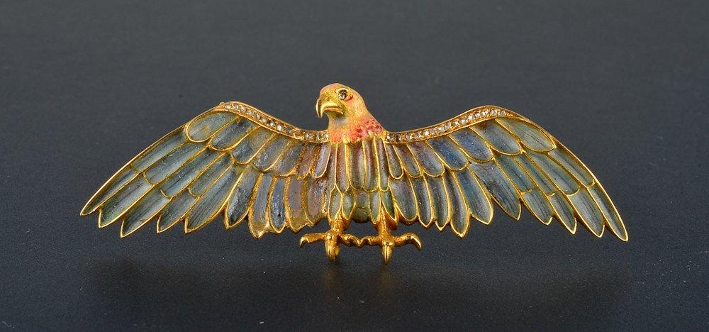 44: Art Nouveau plique a jour diamond eagle pin/pendent
