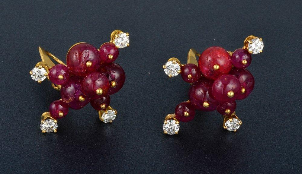 47: Seaman Schepps ruby diamond ear clips