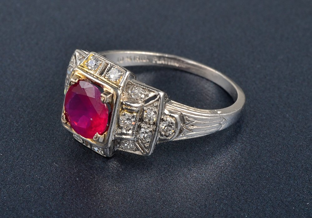 66: Art Deco platinum ruby & diamond ring