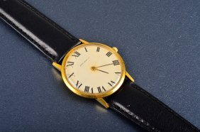 Harry WInston Man's Gold Leather Band Watch