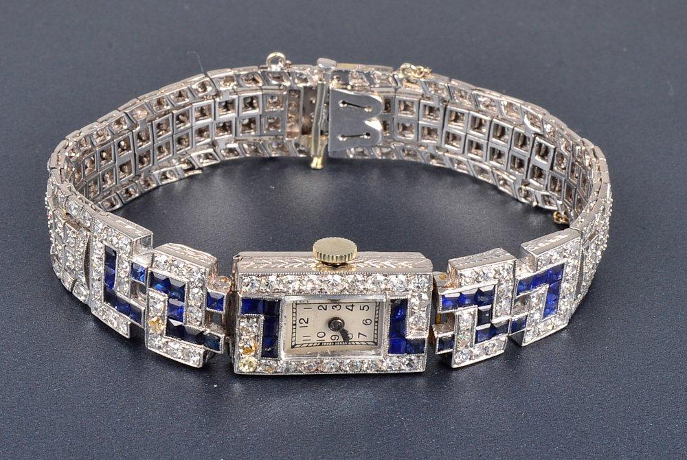 150: Platinum diamond sapphire lady's wrist watch