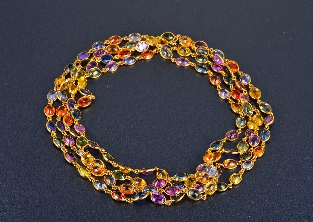 151: Multi-colored sapphire long chain necklace