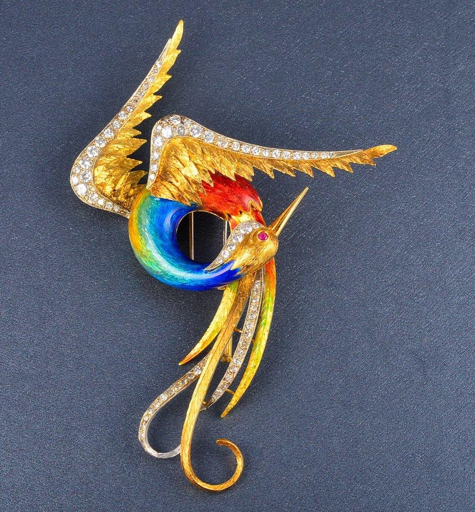 153: Rare gold enamel diamond bird of paradise brooch