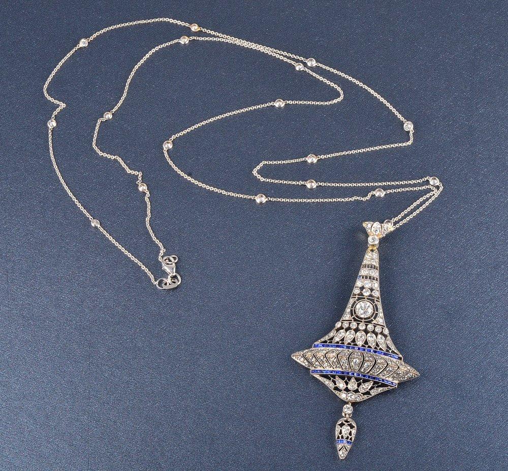 155: diamond sapphire pendant and chain necklace