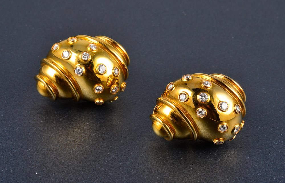 156: Seaman Schepps style gold and diamond ear clips