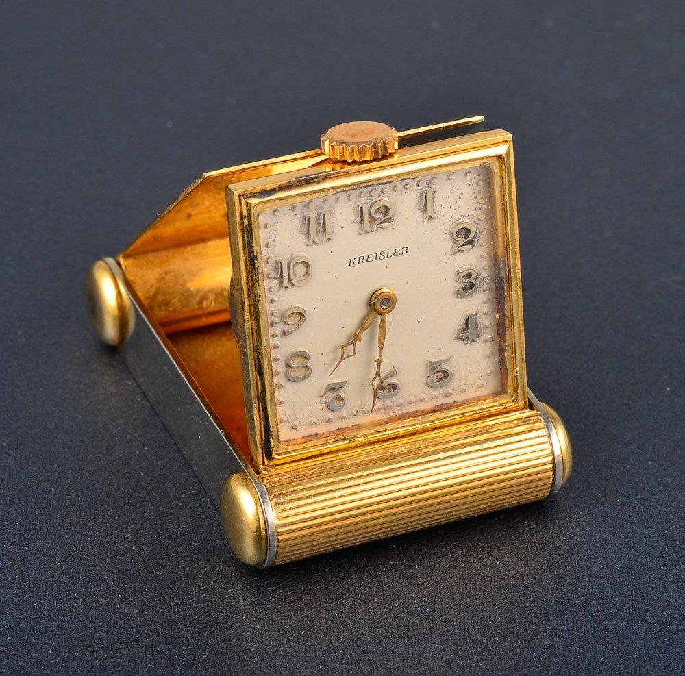 157: A Kreisler yellow gold traveling clock