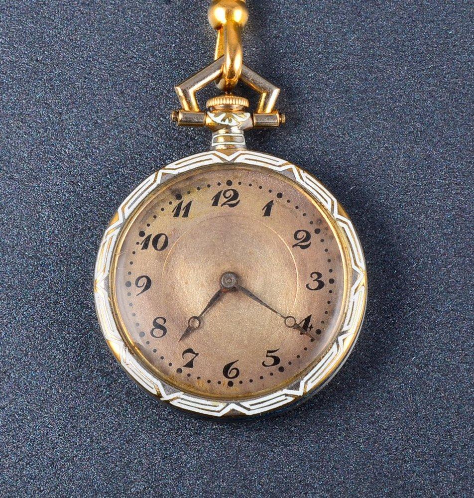 162: Longines Antique blue enamel pendant watch