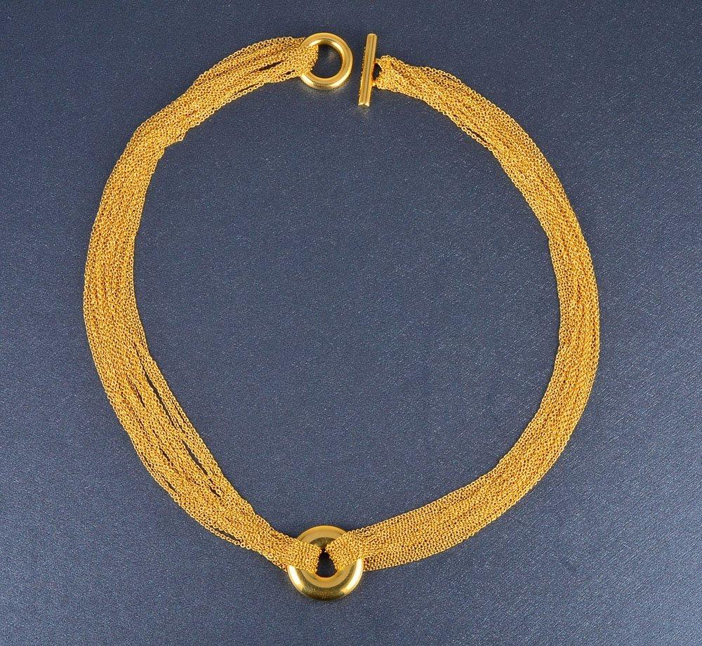 164: Tiffany & Co. multi-strand gold chain necklace