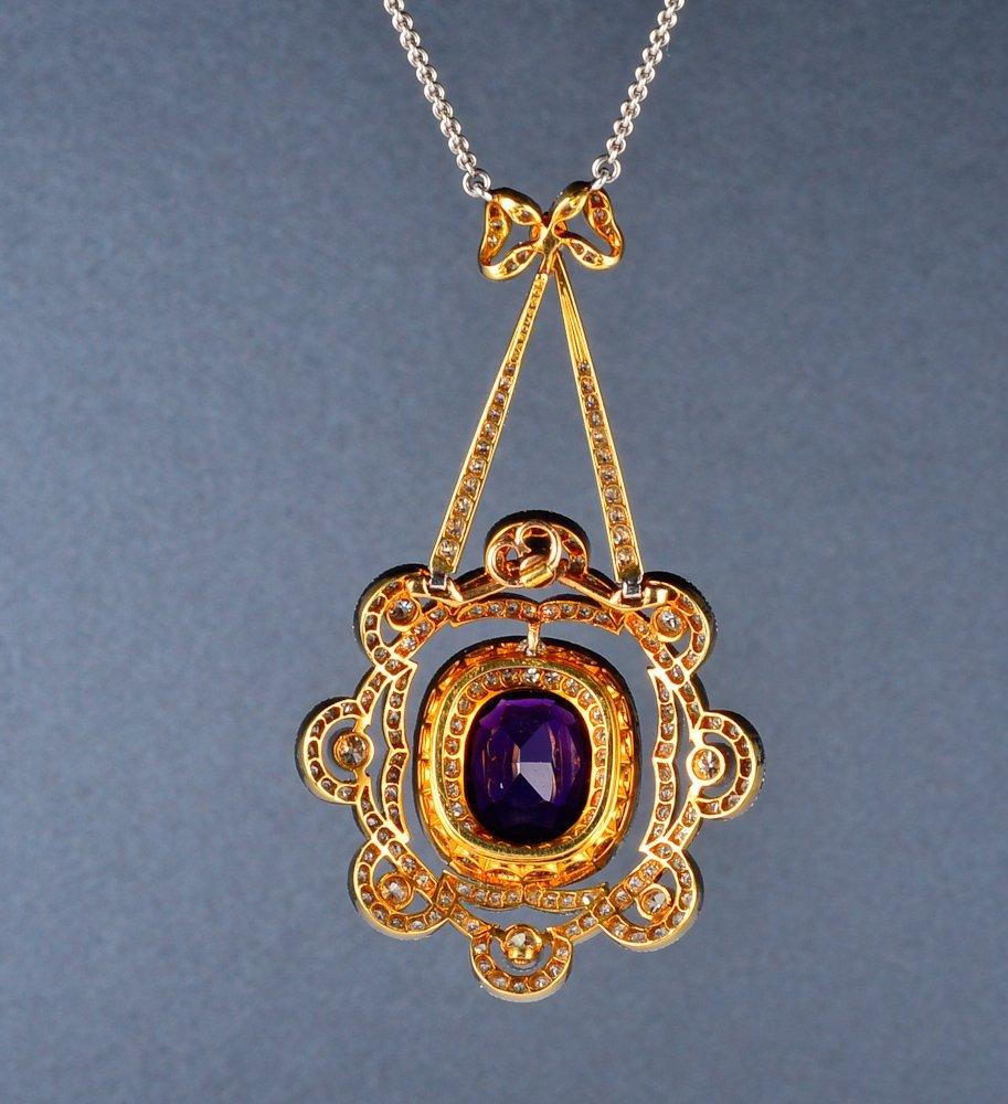 168: Antique Marcus and Co. amethyst diamond pendant ne