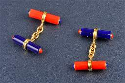 205: Trianon Lapis and coral cuff-links
