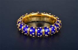 "234:  ""Tiffany & Co. Schlumberger diamond and enamel ba"