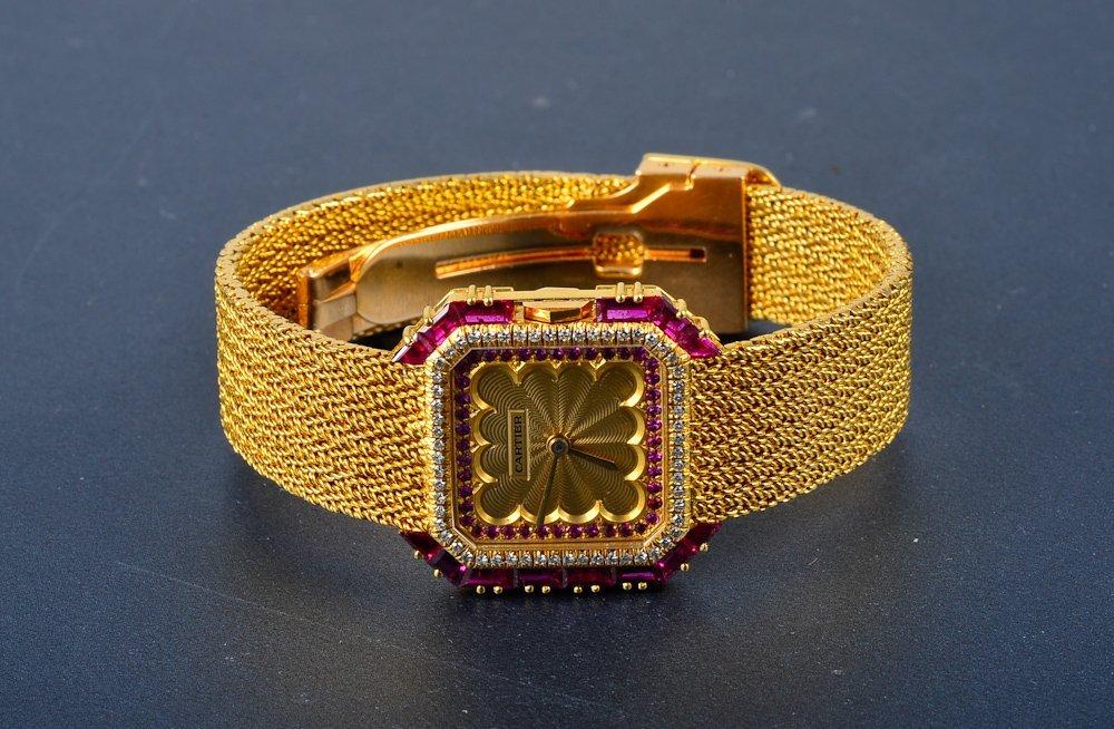 "251:  ""Cartier 18K yellow gold & diamond & ruby wristwa - 2"