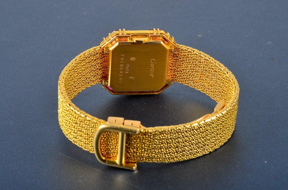 "251:  ""Cartier 18K yellow gold & diamond & ruby wristwa - 3"
