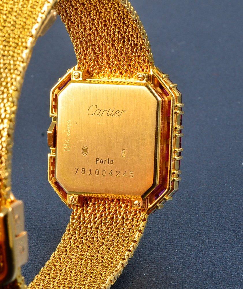 "251:  ""Cartier 18K yellow gold & diamond & ruby wristwa - 4"