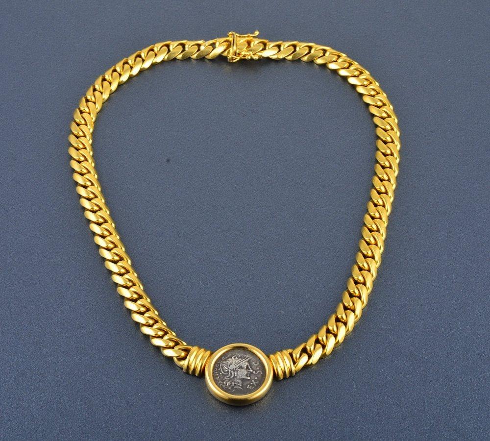362: Bvlgari 18K Roman coin heavy cable chain necklace