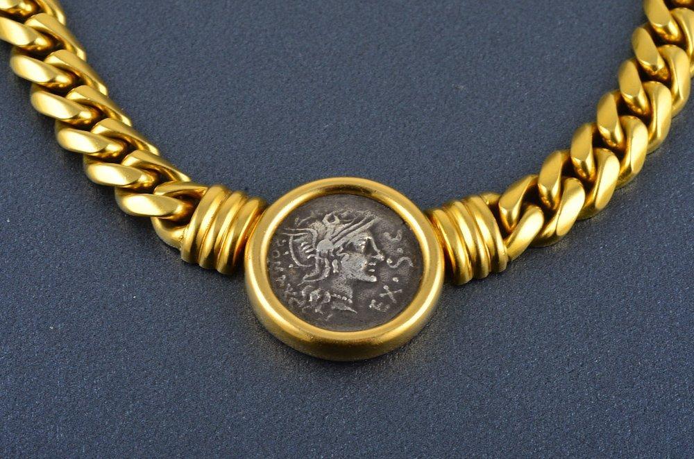 362: Bvlgari 18K Roman coin heavy cable chain necklace - 2