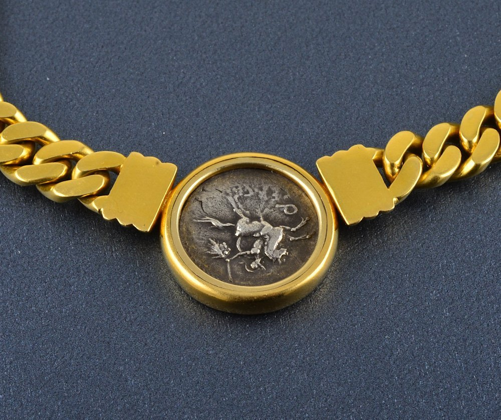 362: Bvlgari 18K Roman coin heavy cable chain necklace - 4