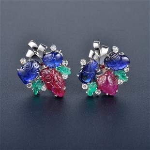 Carved Sapphire, Ruby, Emerald Platinum Earrings