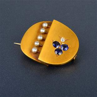 Gold Sapphire and Pearl Brooch