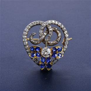 Russian diamond sapphire pin