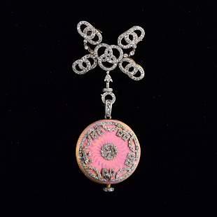 Very Fine Antique enamel watch pendant