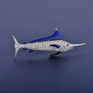 Yard Platinum Diamond Sail Fish Pin
