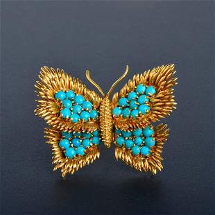 Tiffany 18k Gold and Turquoise Butterfly Brooch