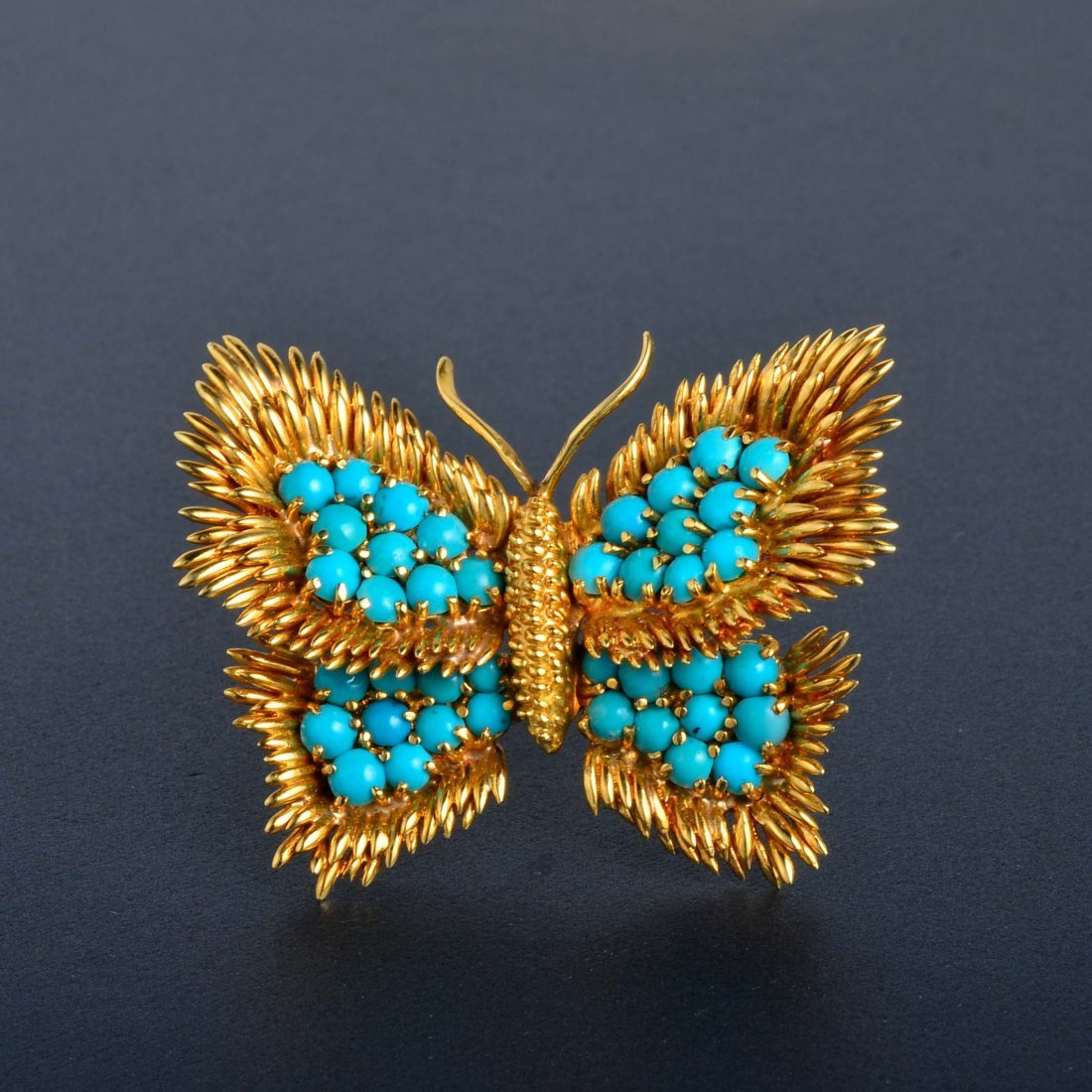 18: Tiffany 18k Gold and Turquoise Butterfly Brooch