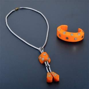 Bakelite Necklace and Bracelet Cuff set