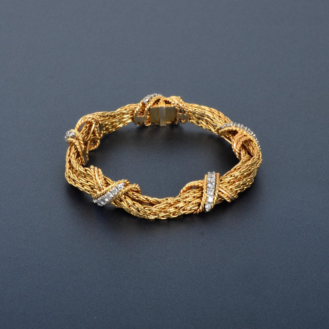 22: 14K Diamond Rope Chain Bracelet